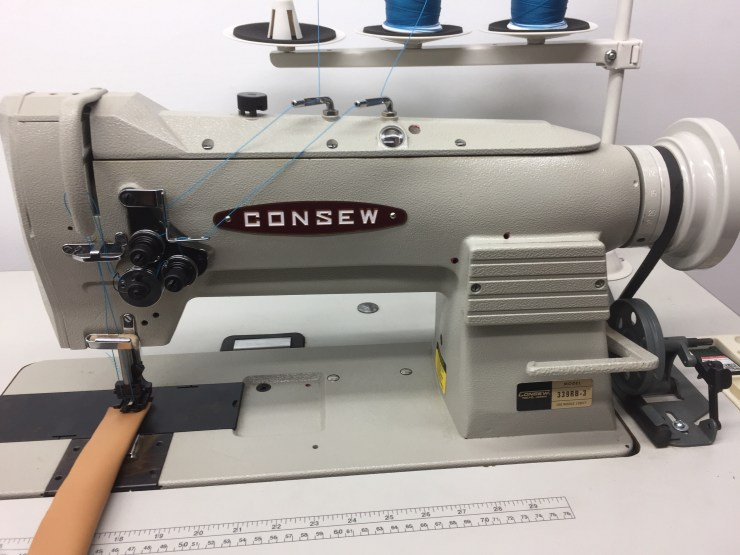Consew 339RB3 3/8 Double Needle Sewing Machine Complete with Stand 110 volt ServoMotor