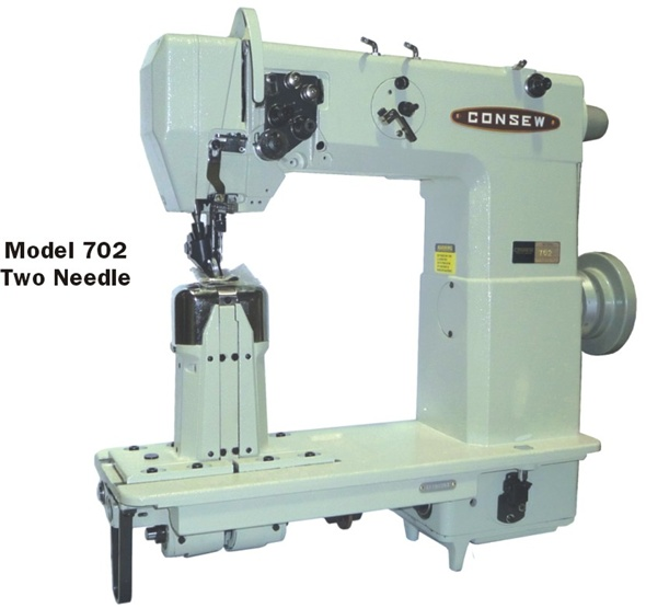 Consew 702 High Speed,  Double Needle, Post Bed, Lockstitch Machine, Drop Feed, Needle Feed
