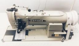 Consew 328RB-2 High Speed, Two Needle, Angular Stitching (Split Needle Bar), Drop Feed, Needle Feed, Walking Foot, Lockstitch Machine
