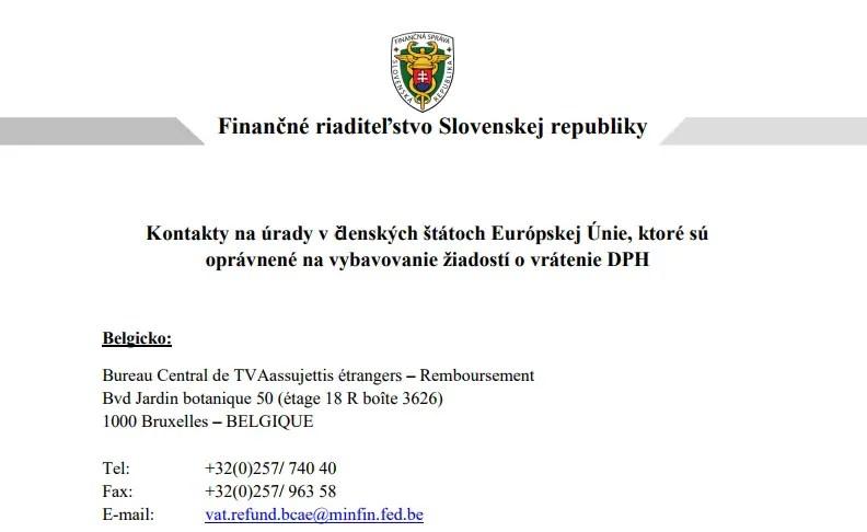 Kontakty na úrady v členských štátoch Európskej Únie, ktoré sú oprávnené na vybavovanie žiadostí o vrátenie DPH