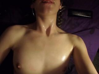 Sexy Teen rubs herself with oil until orgasm. Masturbation