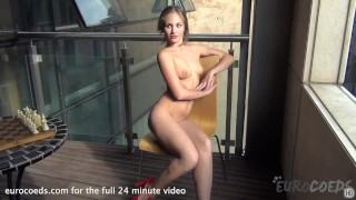 gorgeous mira nude in public on my balcony masturbating