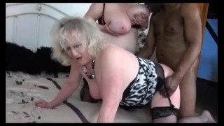 Two mature grannies Claire Knight & Speedy Bee share a big black cock