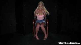 Hot Blonde Babe sucking strangers off