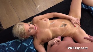 Piss Soaked Blonde Takes Cum On Tits
