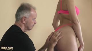 Teen with beautiful sucking lips fucks grandpa hard and gets facial cum