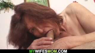 Horny old mother-in-law ready to ride his cock