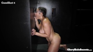 Sexy curvy girl in Glasses eats 10 loads of strangers cum