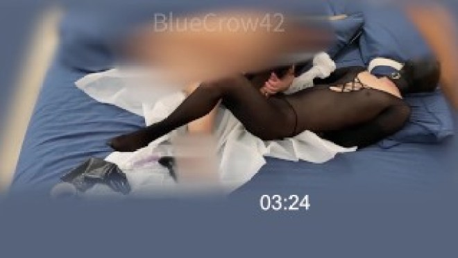 Crossdresser in bodystocking spanked and fisted by mistress, cummed twice