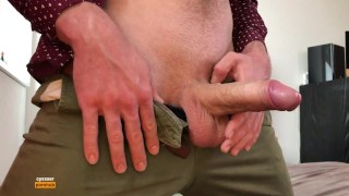 Horny Guy Touching His Big Dick In Pants - Cumshot - Moaning
