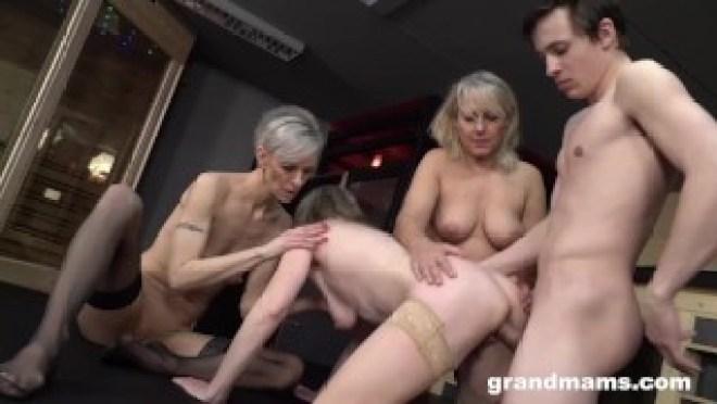 Triple Blonde Granny Orgy