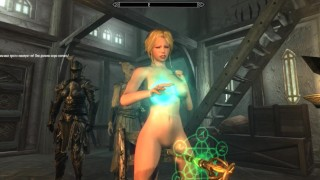 Fucked herself with magic | Playing Skyrim Adult Mods