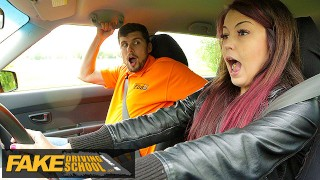 Fake Driving School Big cock Instructor bonnet fucks and licks cute learners ass