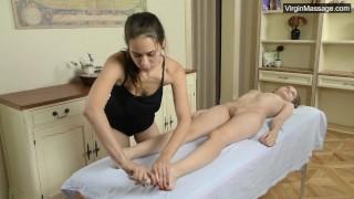 Abel Rugolmaskina gives warming moans during massage