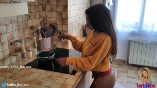 Latika Jha - Asian / Indian Teen with Huge Boobs Gettin Fucked in her Kitchen / Amateur / LJ_015