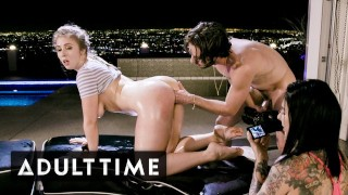 ADULT TIME Lena Paul & Joanna Angel Cumswapping Threesome Over L.A. Skyline