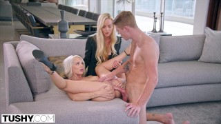 TUSHY Elsa enjoys anal with Kayden's boy-toy as she watches