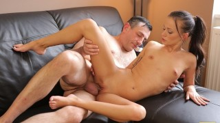 OLD4K. Excited babe with small tits nicely rides boner of old partner
