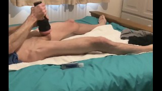 First time with a flesh light - toe curling orgasm cumming hard into my toy! Big dick jerked hard