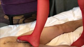japanese foot job red stocking(side cam)☆赤ストッキングの足こき(サイドカメラ)
