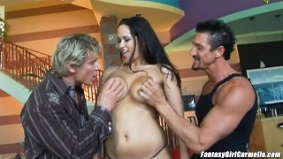 Carmella Bing busty milf enjoys 2 dicks making her airtight DP