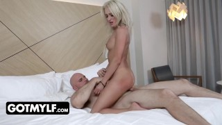 Muscular Businessman Gets Submissive Blonde In Sexy Lace Lingerie As A Welcum Gift In His Hotel Room
