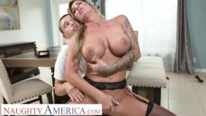 Naughty America – Hot MILF plays with sons friend's big cock