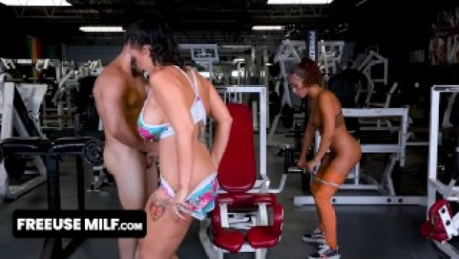 Two Perfect Assed Milfs Let Their Favorite Fitness Guru Stretch Them In A Private Workout Session