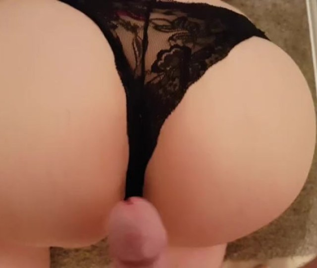 Cum On Her Lacy Black Panties Jerking Off On Huge Ass Cum Shot On Panties