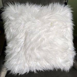 juicy couture large white fuzzy pillow