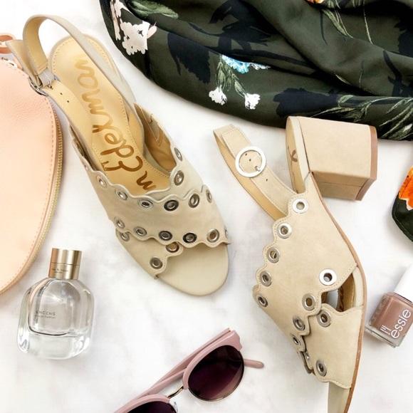Sam Edelman Shoes - Beige Scalloped Grommet Detail Block Heel Sandals