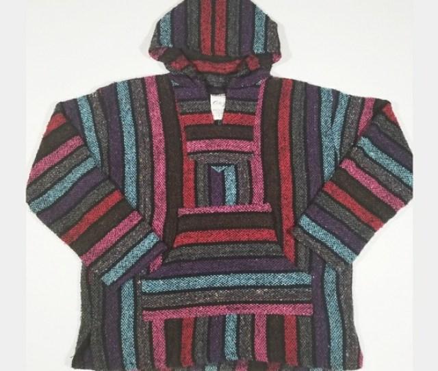 Baja Boho Hippy Festival Colorful Drug Rug Hoodie