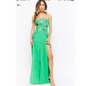 David s Bridal Dresses   Strapless Trumpetmermaid Tulle Lace Wedding         Forever 21 Green Embroidered Floral Jumpsuit