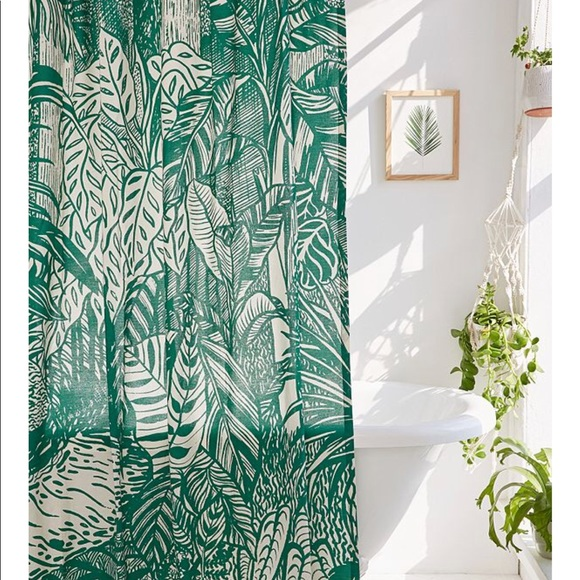 urban outfitters palm leaf shower curtain