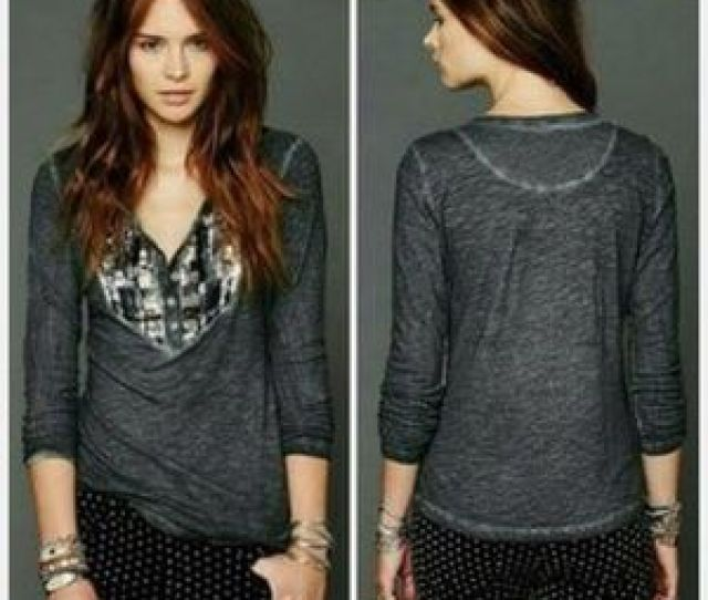 Free People Tiger Eyes Sequined Bib Henley Size M