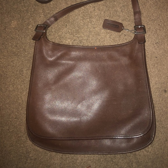 coco brown leather coach crossbody bag