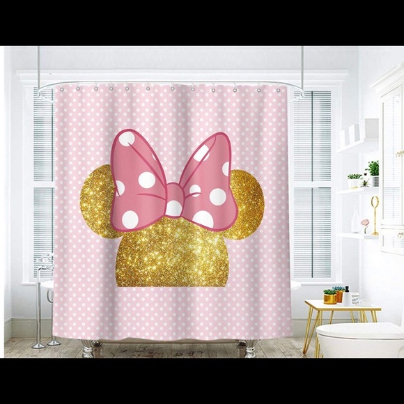 minnie mouse shower curtain with plastic hooks