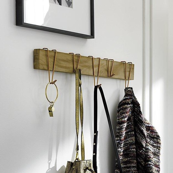 cb2 dip coat rack wooden gold hooks