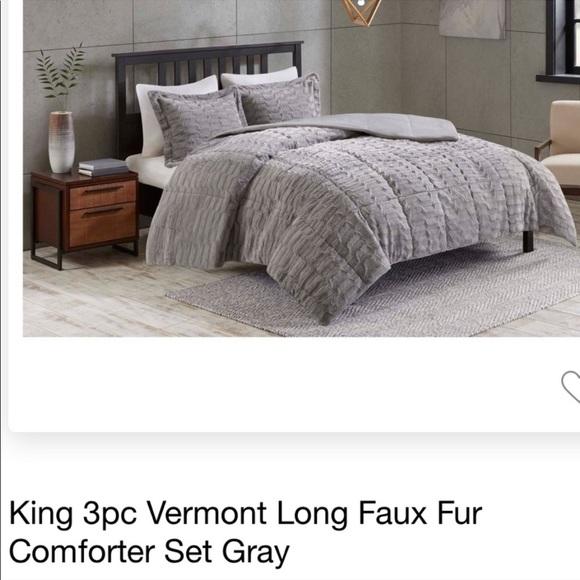 grey king size faux fur comforter set