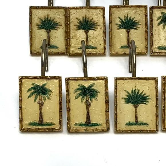 shower curtain hooks set of 12 palm trees beach