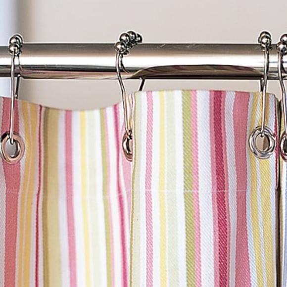 pottery barn kids mult striped shower curtain 72