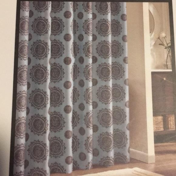 nwt casa christina aqua brown shower curtain rings