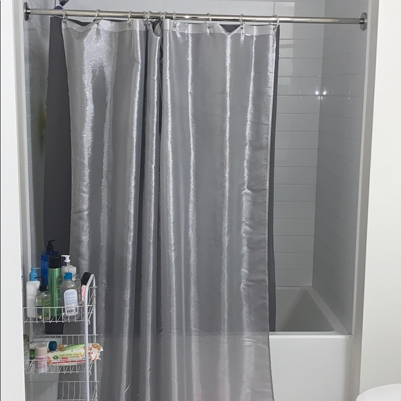 gray sparkly sheer shower curtain
