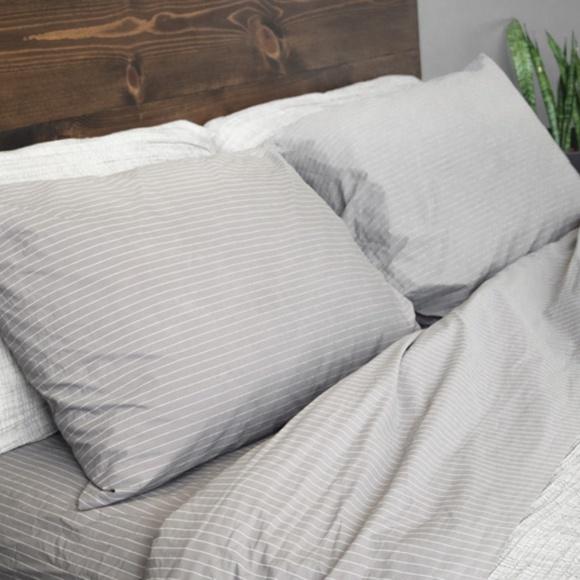brooklinen cotton pillowcase set smoke stripe