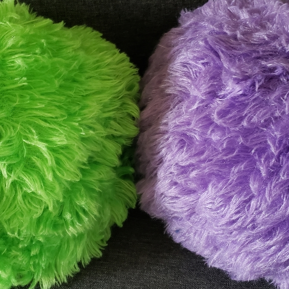 round lime green pillow purple pillow