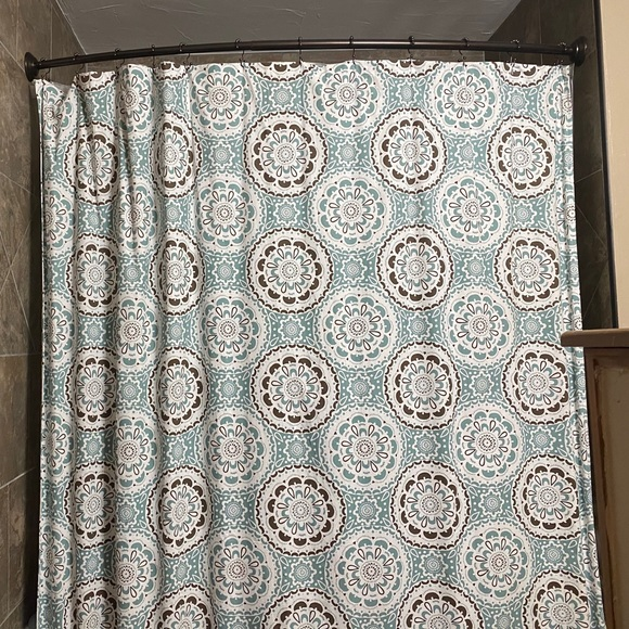 teal and brown fabric shower curtain