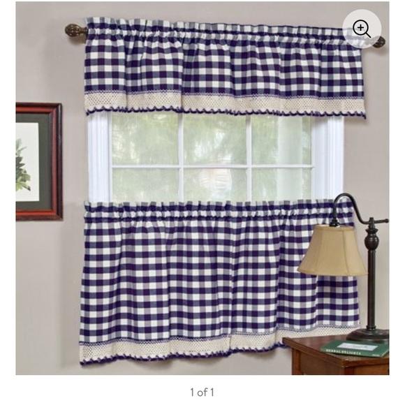 buffalo check navy blue gingham curtains