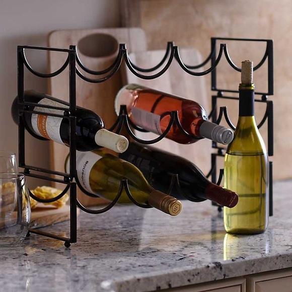 black metal wine rack 4 bottle holder