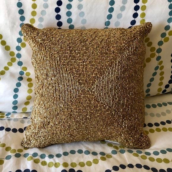 gold beaded pillow
