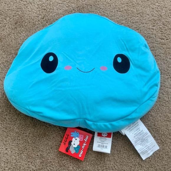 new my ku mo capri blue smiley cloud face pillow